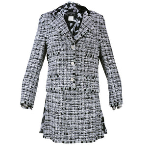 CHANEL Black, White & Gray Boucle Suit