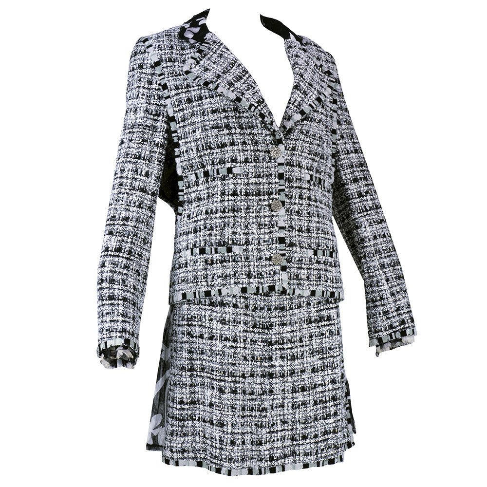 CHANEL Black, White & Gray Boucle Suit, side