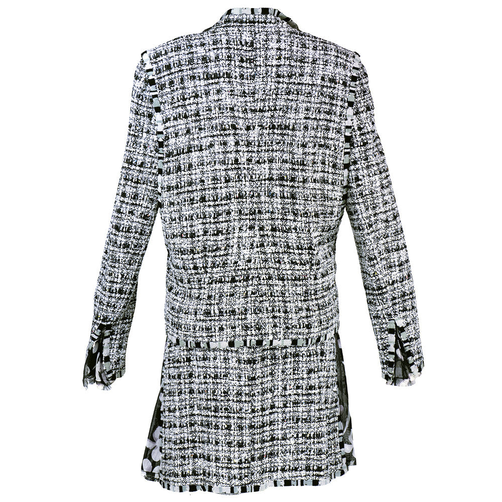 CHANEL Black, White & Gray Boucle Suit, back