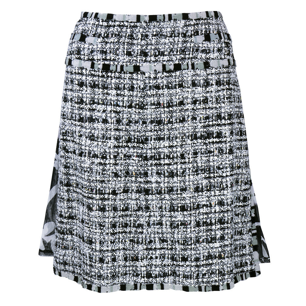 CHANEL Black, White & Gray Boucle Suit, skirt