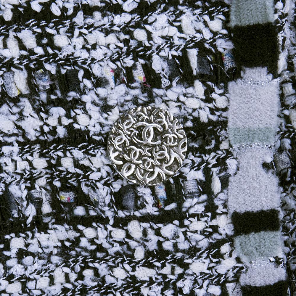 CHANEL Black, White & Gray Boucle Suit, detail 2