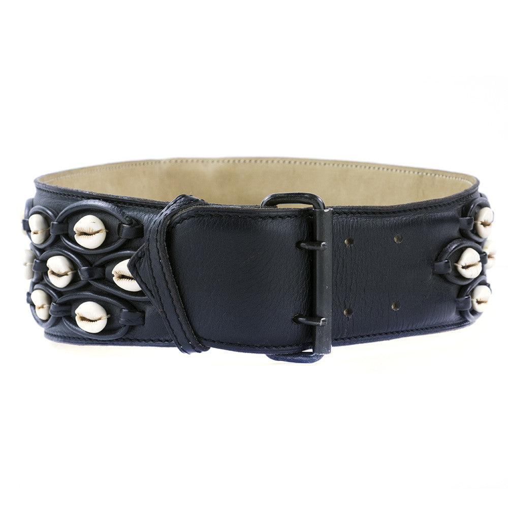 Vintage ALAIA 90s Black Shell Embellished Belt