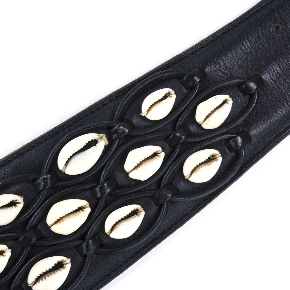 Vintage ALAIA 90s Black Shell Embellished Belt, detail
