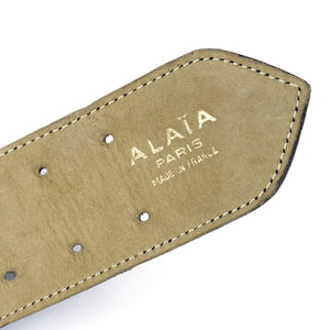 Vintage ALAIA 90s Black Shell Embellished Belt, label