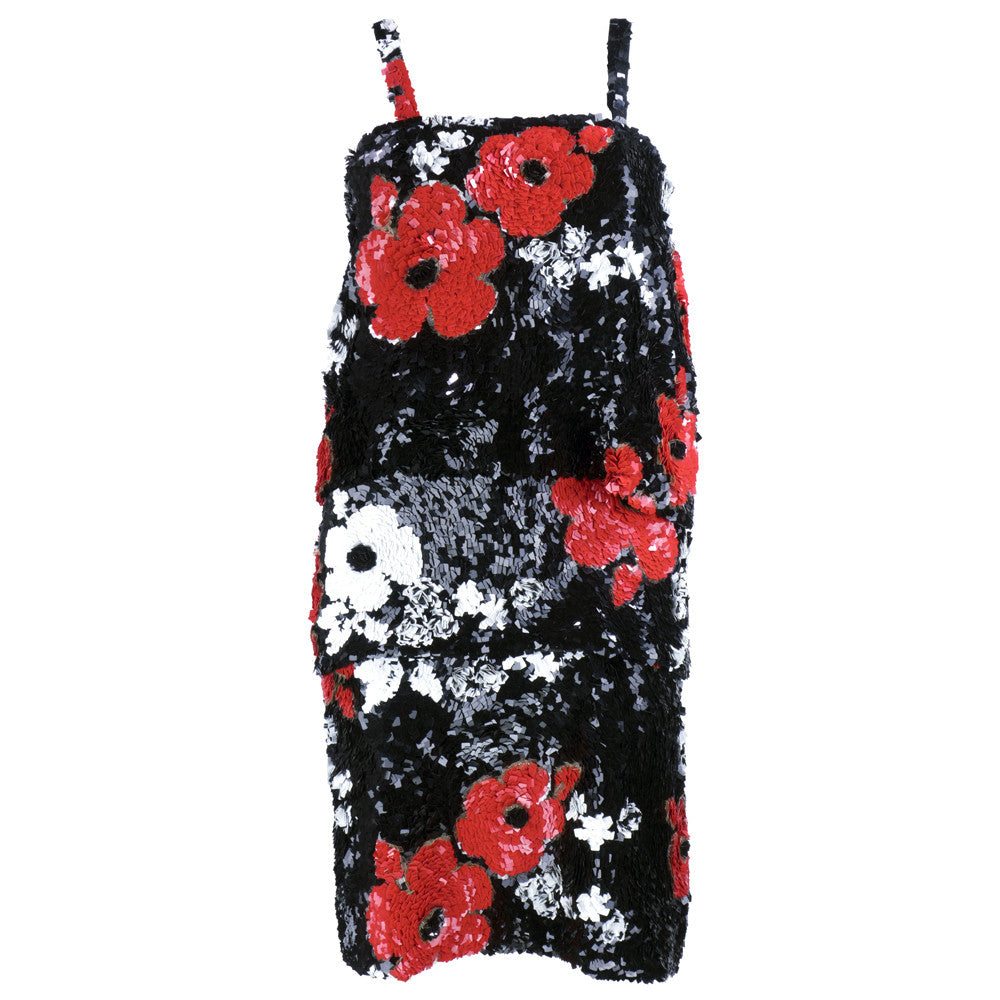 SANDER Heavily Sequined Floral Cocktail Dress
