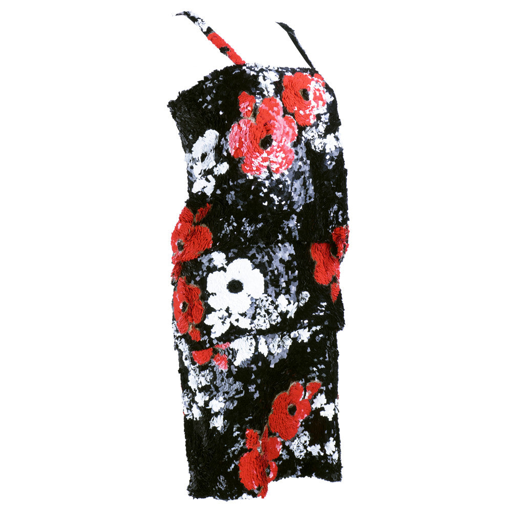 SANDER Heavily Sequined Floral Cocktail Dress, side