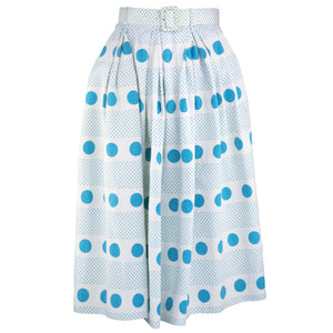 1950s White Pique Polka Dot Full Skirt  front