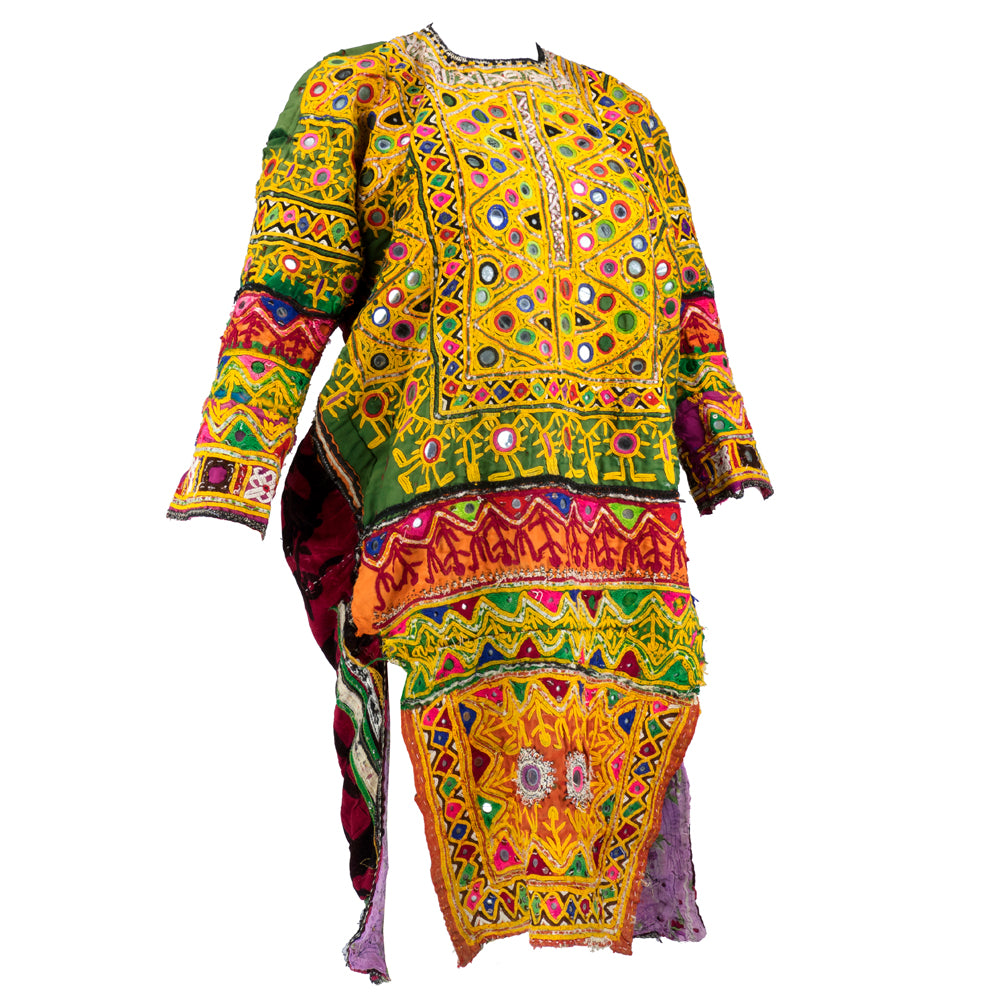 Banjara Indian Embroidered Multi-Color Patchwork Tunic, side