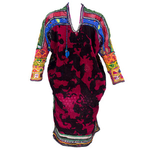 Banjara Indian Embroidered Multi-Color Patchwork Tunic, back