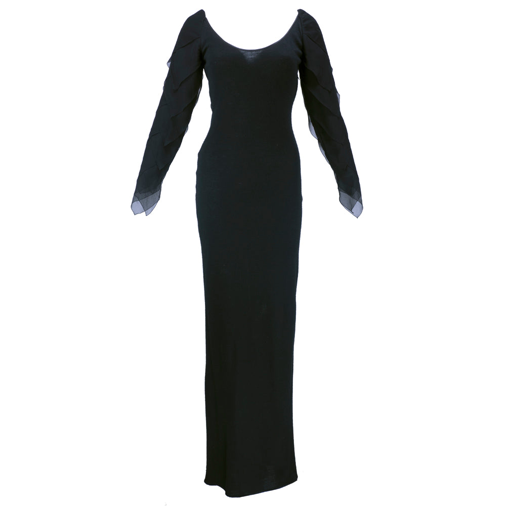 Vintage GALANOS 70s Black Wool & Chiffon Gown