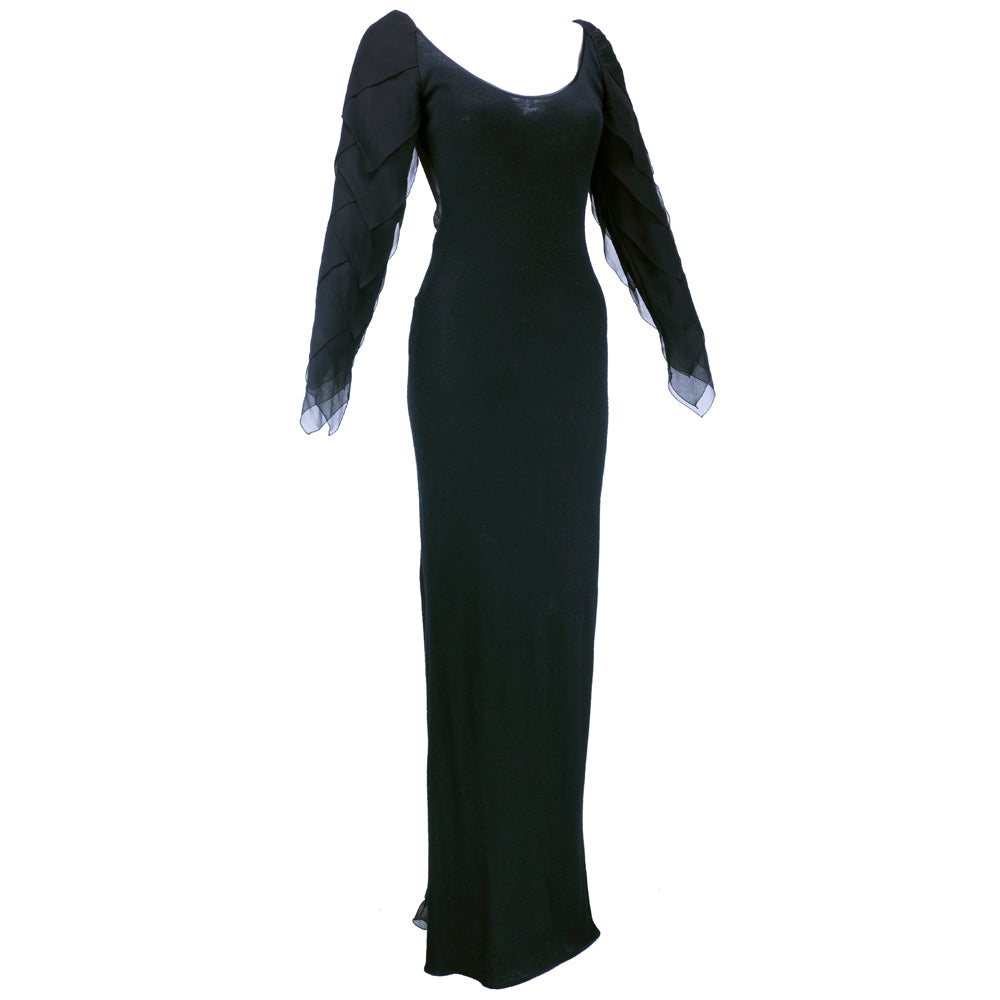 Vintage GALANOS 70s Black Wool & Chiffon Gown, side