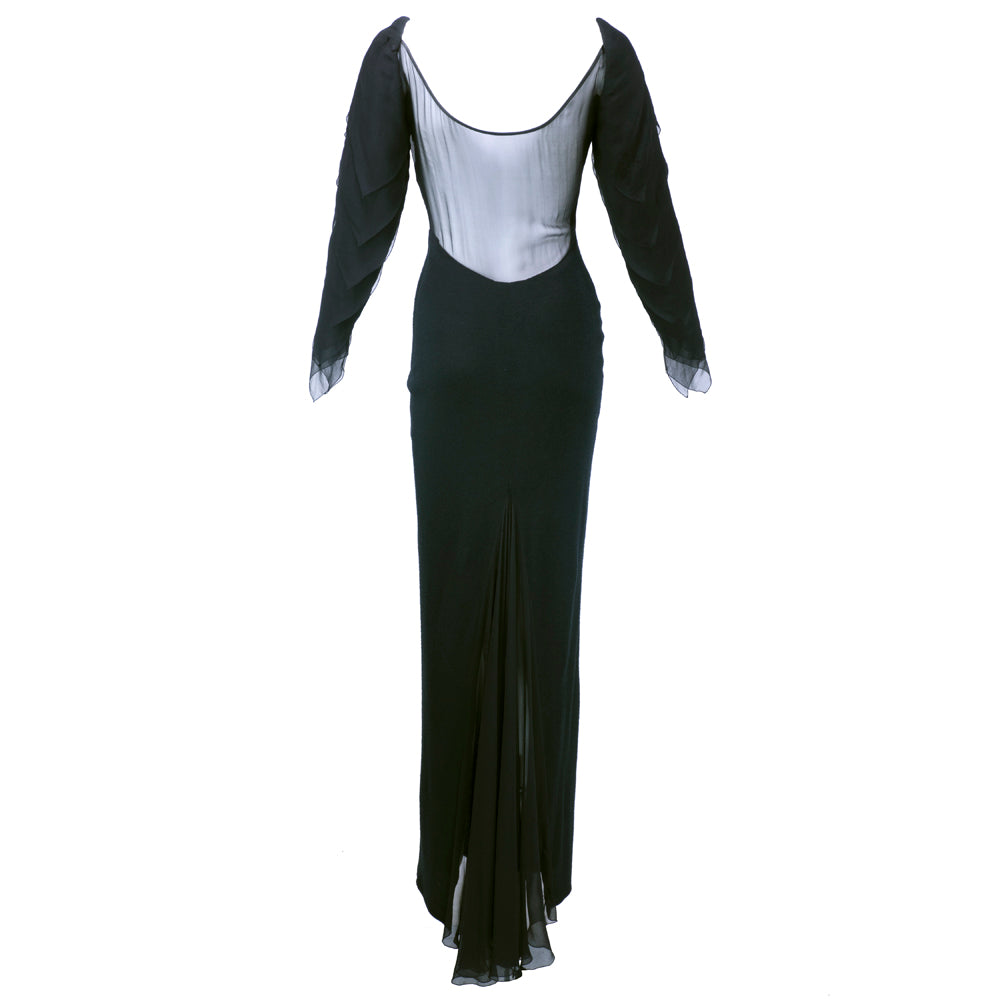 Vintage GALANOS 70s Black Wool & Chiffon Gown, back