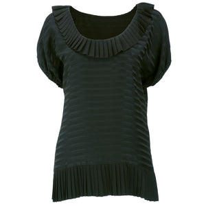 Galanos Black Silk Striped Blouse front