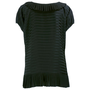 Galanos Black Silk Striped Blouse  back