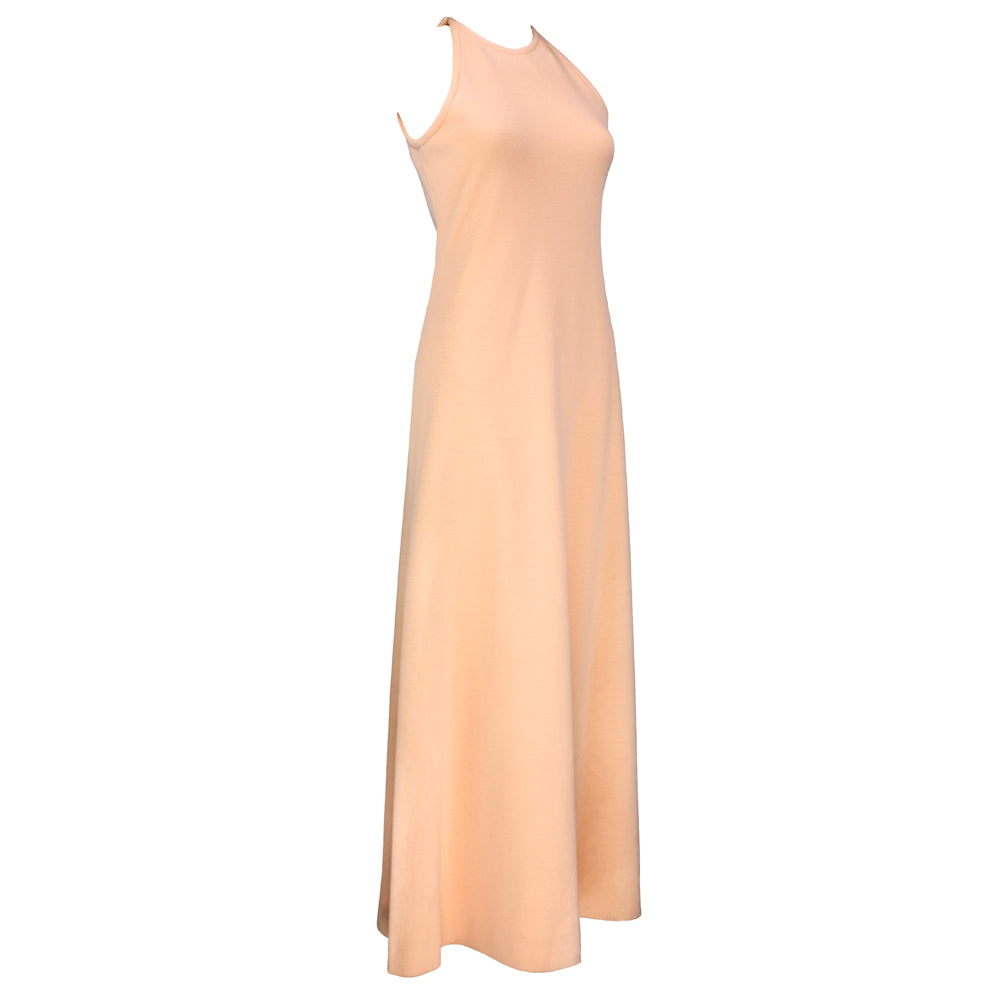 Vintage HALSTON 70s Peach Evening Ensemble, dress side