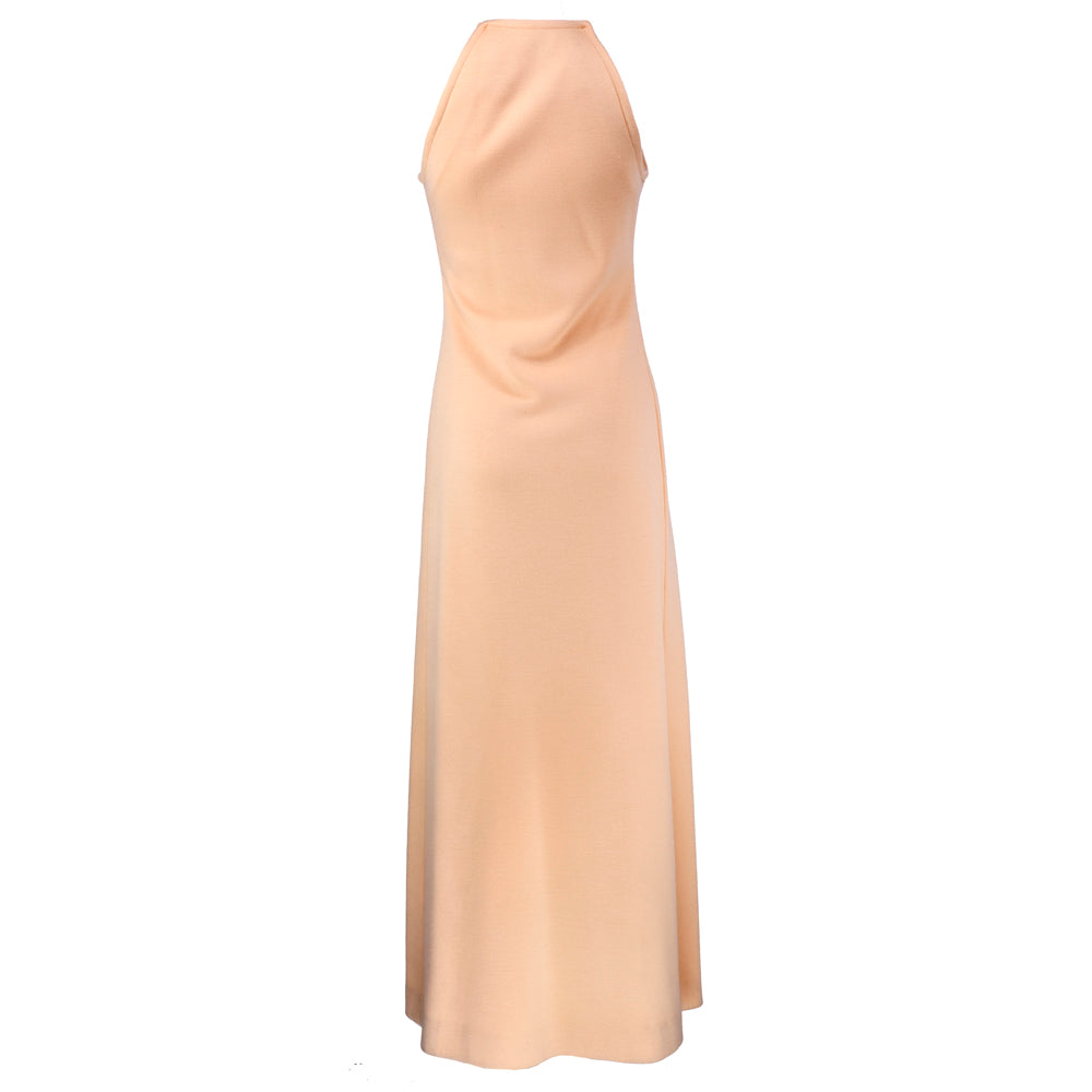 Vintage HALSTON 70s Peach Evening Ensemble, dress back