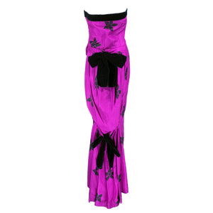 Vintage 80s Fuchsia Silk Floral-Print Gown, back