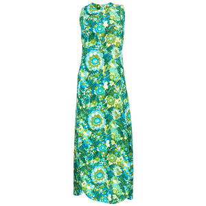 Vintage Pertegaz 60s Quited Green Watercolor Floral Maxi Dress