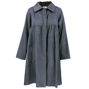 DRIES VAN NOTEN Grey Black Silk Overcoat