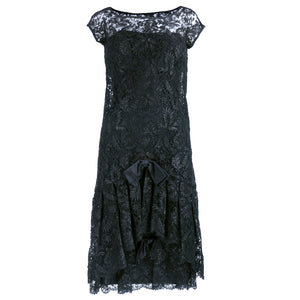 Vintage SIMPSON 60s Black Lace Cocktail Dress