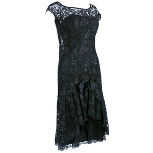 Vintage SIMPSON 60s Black Lace Cocktail Dress, side