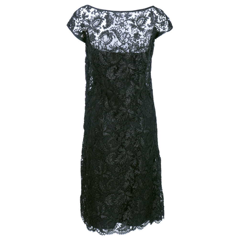 Vintage SIMPSON 60s Black Lace Cocktail Dress, back