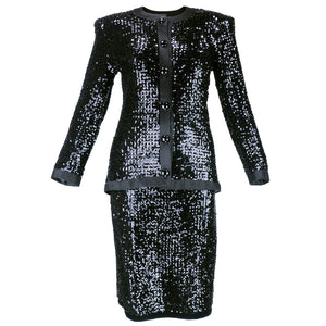 Vintage YSL 80s Black Sequin Skirt Suit