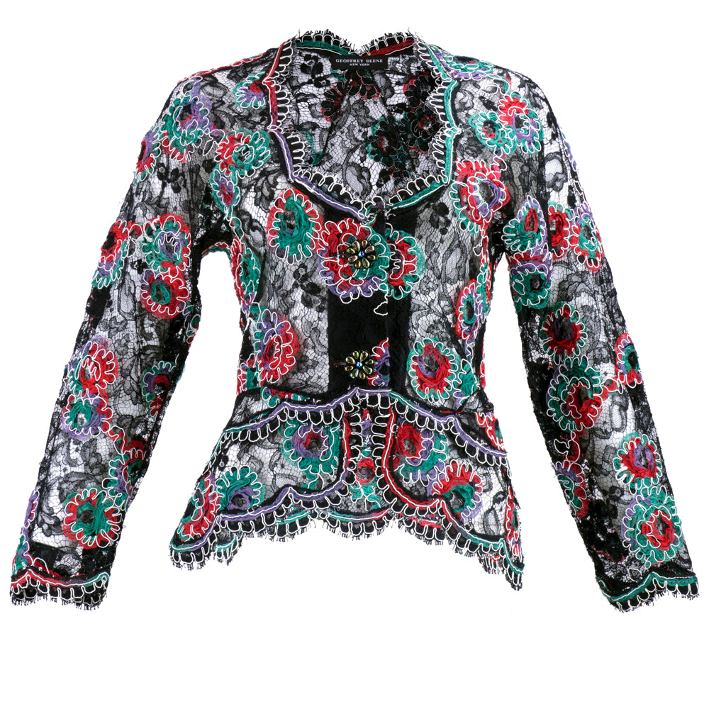 Vintage BEENE 80s Multi-Color Lace Evening Jacket