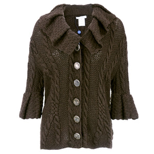DE LA RENTA Brown Cashmere Cable Knit Cardigan