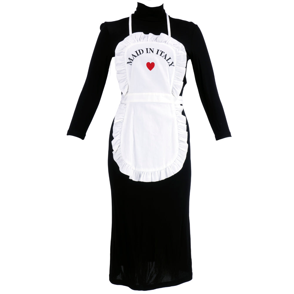"MOSCHINO Black & White ""Maid in Italy"" Apron Dress"