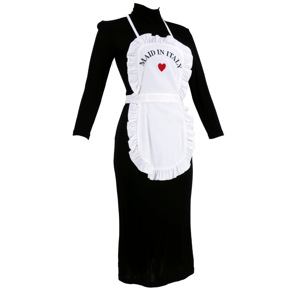 "MOSCHINO Black & White ""Maid in Italy"" Apron Dress, side"