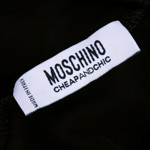 "MOSCHINO Black & White ""Maid in Italy"" Apron Dress, label"