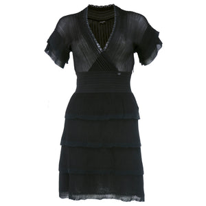 CHANEL Black Sheer Micro-Pleated Cocktail Dress
