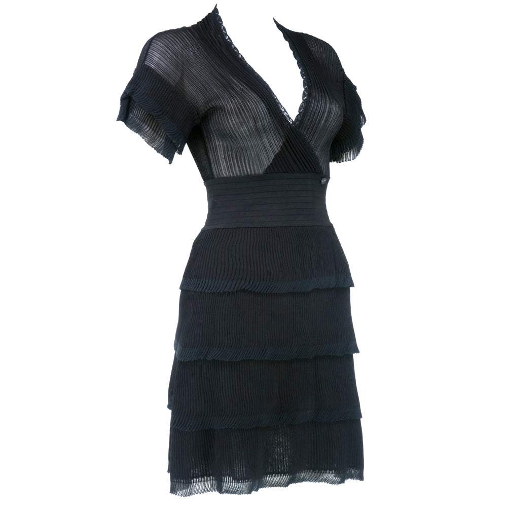 CHANEL Black Sheer Micro-Pleated Cocktail Dress, side