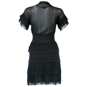 CHANEL Black Sheer Micro-Pleated Cocktail Dress, back