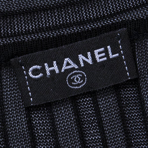 CHANEL Black Sheer Micro-Pleated Cocktail Dress, label