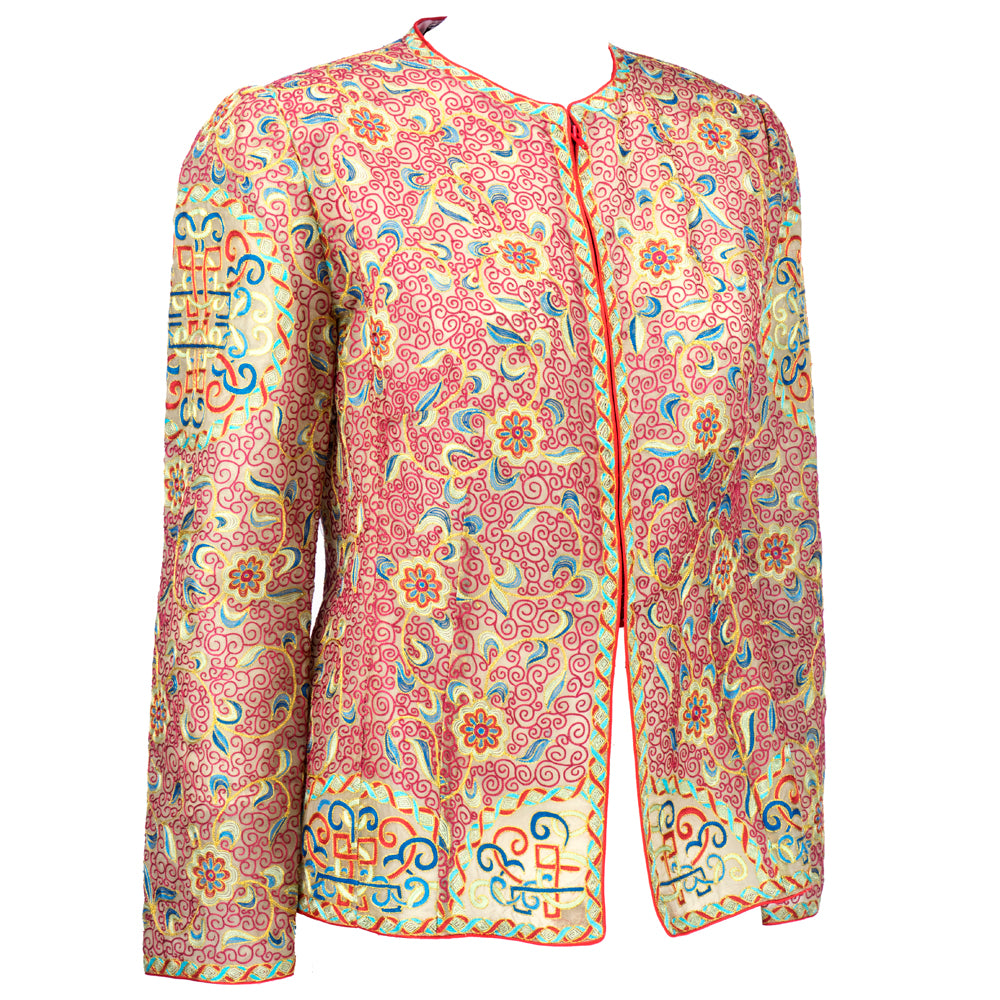 Vintage MCFADDEN 80s Embroidered Silk Evening Jacket, side
