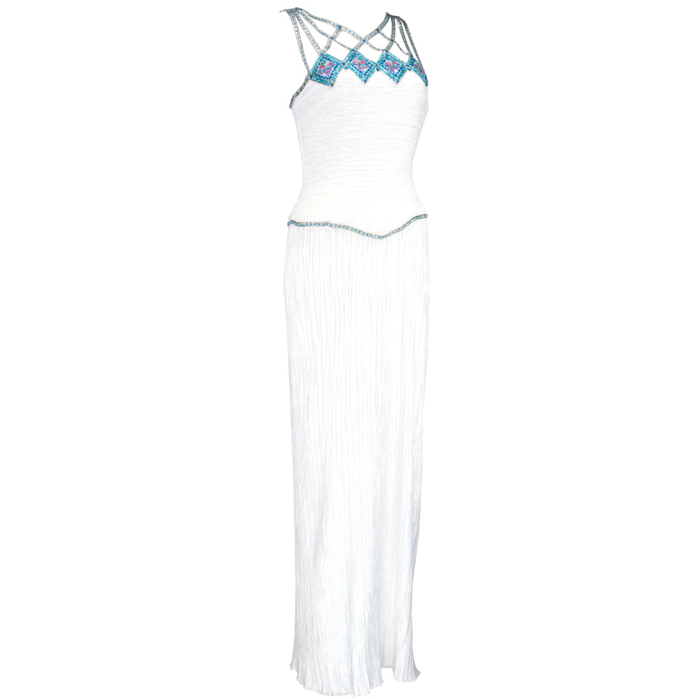 Vintage MCFADDEN 80s Caged Bodice Pleated Column Gown, side