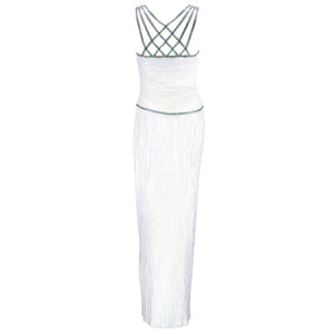 Vintage MCFADDEN 80s Caged Bodice Pleated Column Gown, back