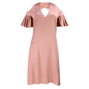 CHLOE Nude Silk Cold Shoulder Slip Dress