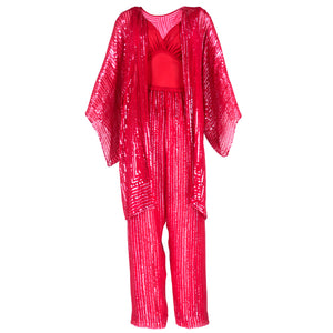 Vintage HALSTON 70s Candy Apple Red Disco Ensemble