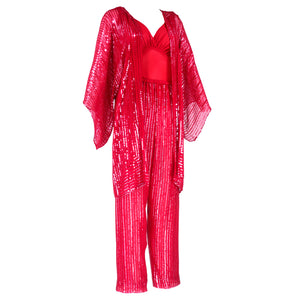 Vintage HALSTON 70s Candy Apple Red Disco Ensemble, side