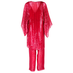 Vintage HALSTON 70s Candy Apple Red Disco Ensemble, back