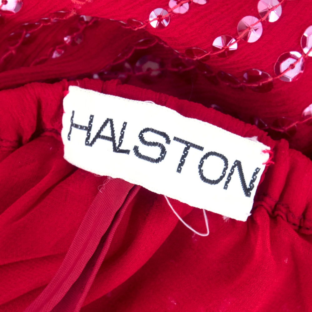Vintage HALSTON 70s Candy Apple Red Disco Ensemble, label