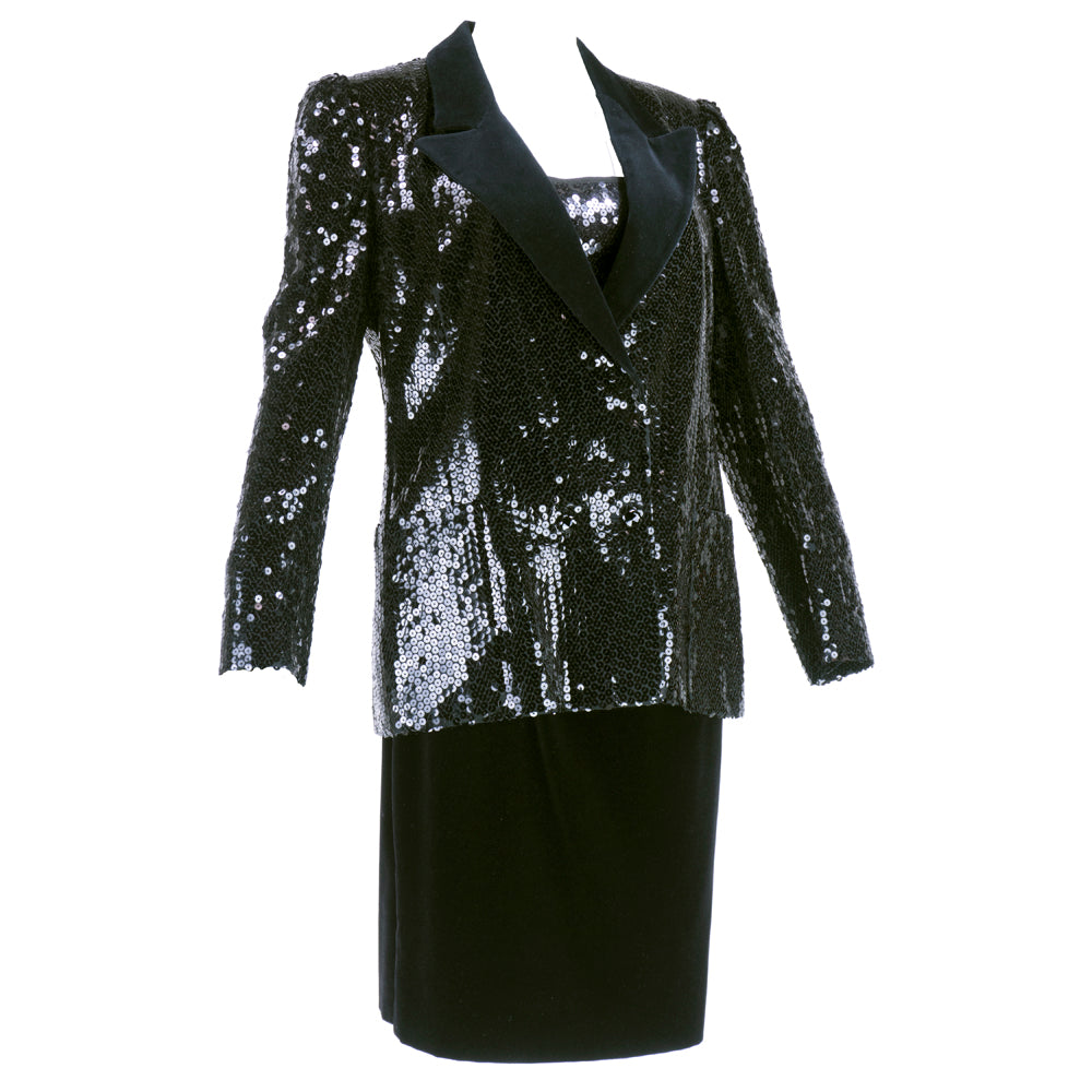 Vintage FERAUD 90s Velvet Sequin Tuxedo Skirt Suit, side