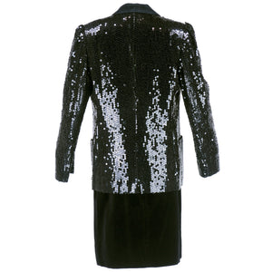 Vintage FERAUD 90s Velvet Sequin Tuxedo Skirt Suit, back