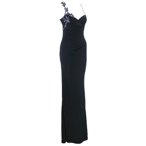 Vintage VERSACE 90s Black Bodycon Asymmetrical Gown, side