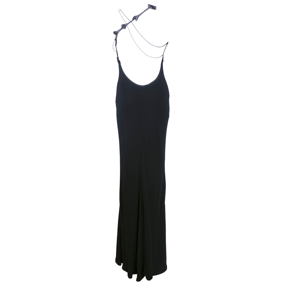 Vintage VERSACE 90s Black Bodycon Asymmetrical Gown, back