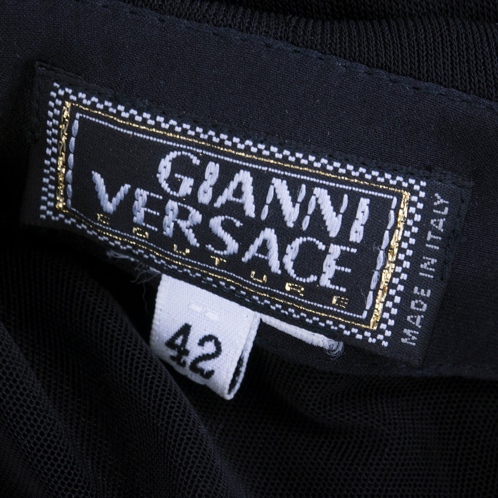Vintage VERSACE 90s Black Bodycon Asymmetrical Gown, label