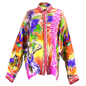 Vintage VERSACE 80s Oversized Silk Miami-Theme Shirt